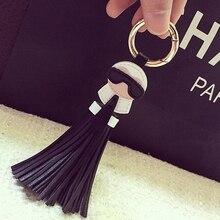 Mignon porte-clés pour les femmes Kar bibelot sac Bugs voiture porte-clés glands breloque pour sac porte ornements en cuir porte-clés K008-black