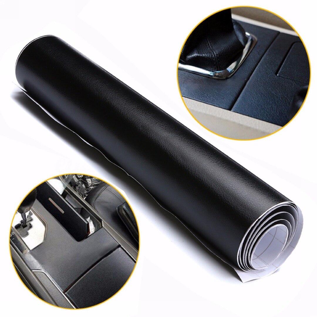 Черная кожаная текстурная наклейка на приборную панель, 100x30 см, Виниловая пленка для салона автомобиля, ПВХ наклейки для стайлинга автомобиля
