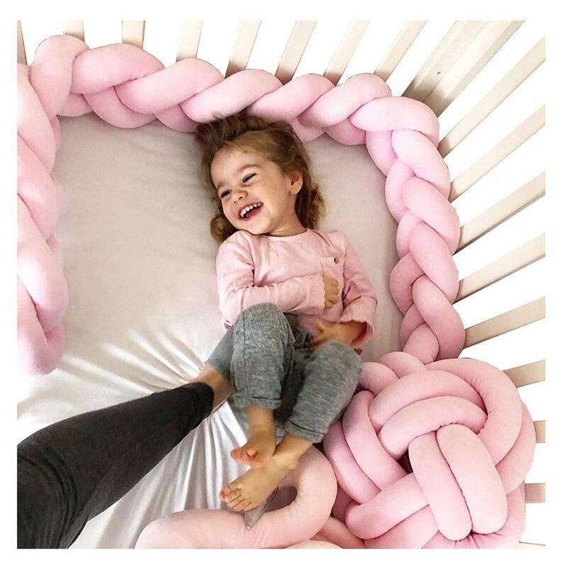 3M Super suave de peluche de felpa bebé almohada de cama con nudos protectora de golpes niños cuna cama Protector Color puro tejido de cuna de bebé decoración de la habitación