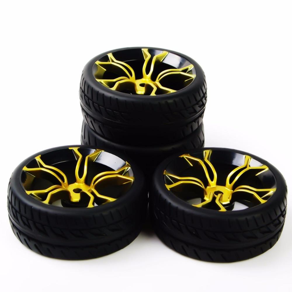 Купить с кэшбэком RC car tires rubber tyre&wheel rim model toys 4pcs tires and wheels for HSP HPI RC 1:10 flat racing on road car PP0150+MPNKG