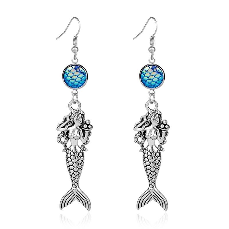 Resina romântica azul peixe escala redonda brinco sereia cor de prata pingente de conto de fadas jóias para presente da menina das mulheres