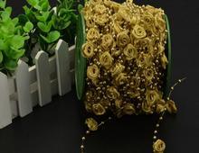 Guirlande de guirlande en perles 30 mètres   1 bobine, en argent/or Rose, fait à la main, pour styliser les cheveux, décoration artisanale de mariage, noël, bricolage