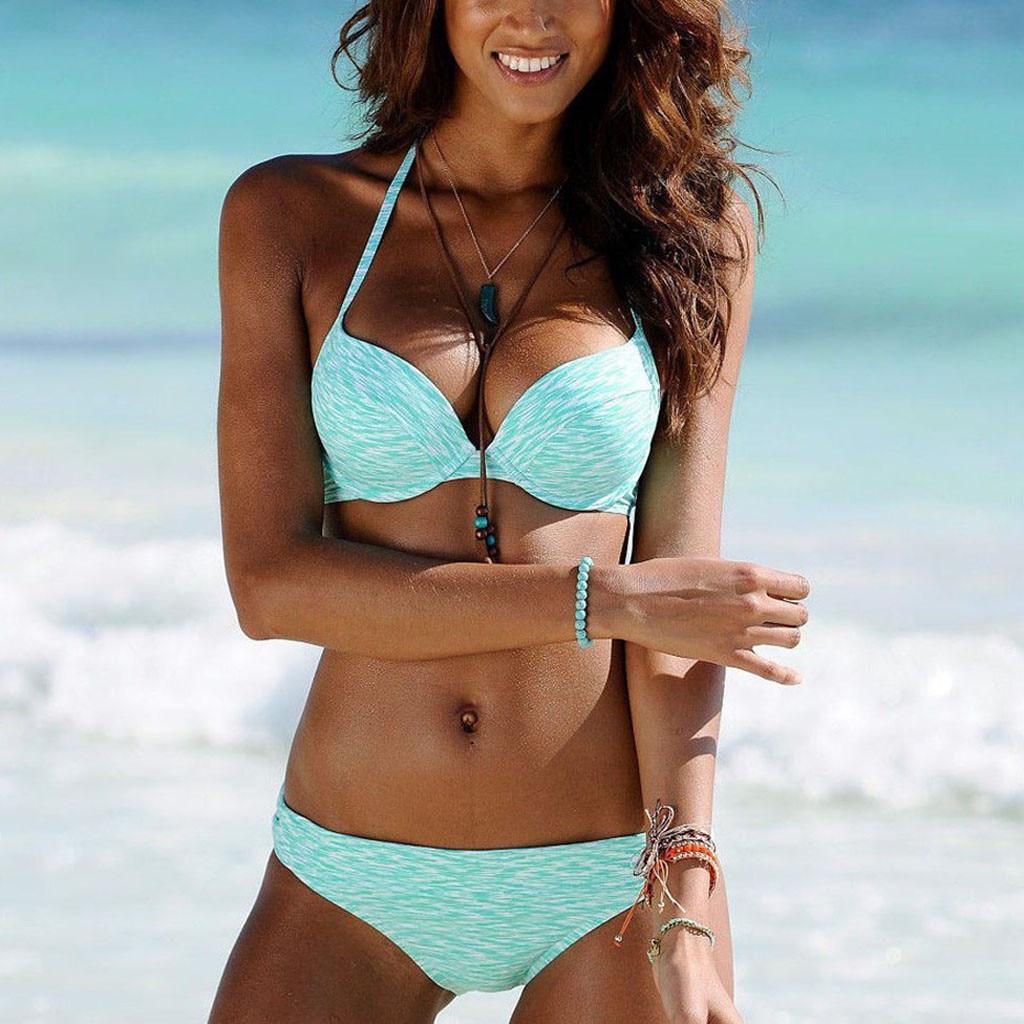 2019 Bikini Sexy Women's bandage split two-piece solid color bikini Outdoor Pool Beach Plus Size Bathing Swimsuit biquini