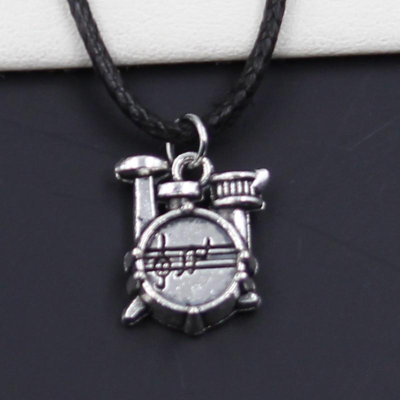 Novo durável preto falso couro cronômetro relógio tambor conjunto pingente cordão gargantilha diy colar retro boho tibetano prata cor