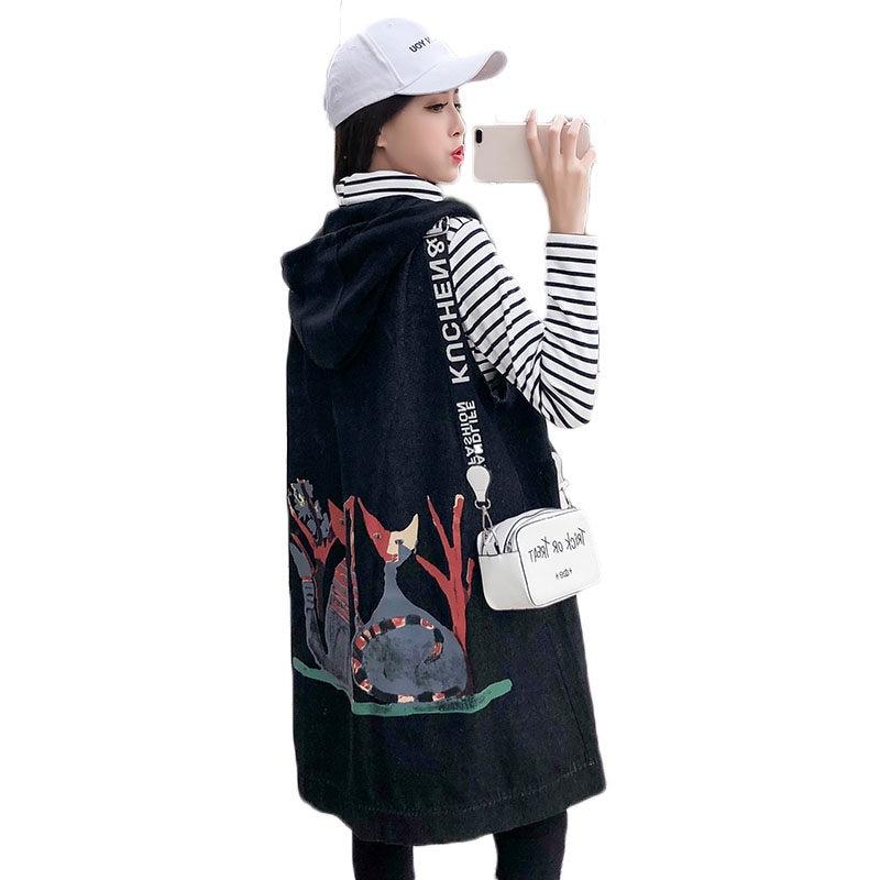 Nuevo chaleco largo vaquero de talla Extra grande para mujer, chaqueta holgada con capucha y estampado, abrigos sin mangas, chaleco de primavera, ropa de calle f532