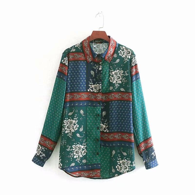 Mujeres vintage patchwork impresión casual negocio blusa camisa de manga larga Mujer paisley patrón chemise femininas blusas LS3593