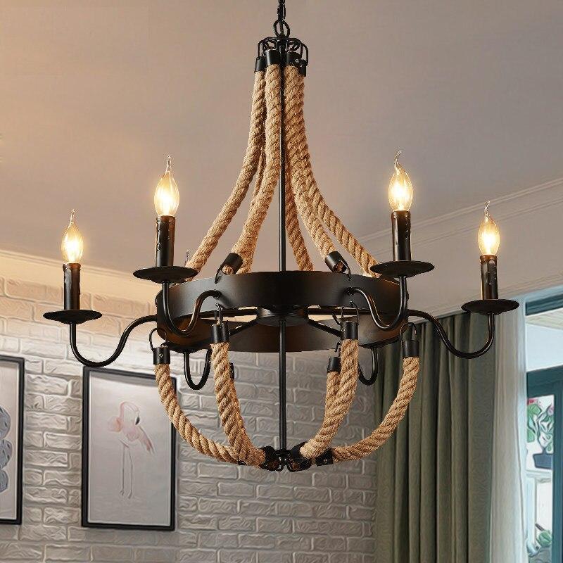 Corda de personalidade industrial, vintage, loft, personalidade retrô, luzes pingentes, lâmpada, restaurante, sala de jantar, lâmpadas de cânhamo, corda, luz