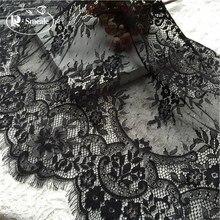 6M/ Lot Eyelash Lace Fabric 45cm DIY Decorative High Quality Soft Off White Nylon Eyelash Lace Trim Wedding Dress Fabric RS390