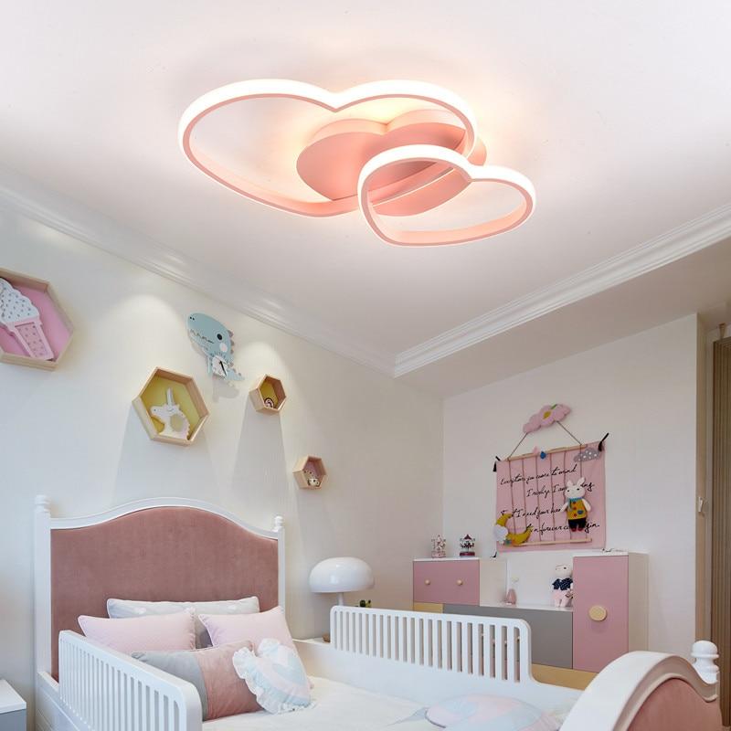 الأميرة بنات Led غرفة نوم ضوء المنزل الإضاءة القلب سقف ليد حديث ضوء التحكم عن بعد الذهب مصباح السقف 110 فولت 220 فولت