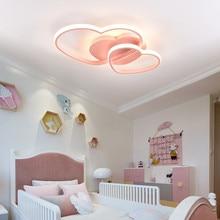 Princesse filles Led chambre chambre lumière maison éclairage coeur plafond moderne à LEDs lumière télécommande or plafonnier 110V 220V