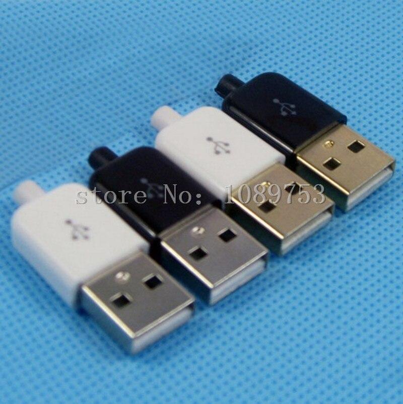 10 conjuntos usb 2.0 tipo-um plugue adaptador macho de 4 pinos conector de solda 3 em 1 adaptador banhado a ouro niquelado