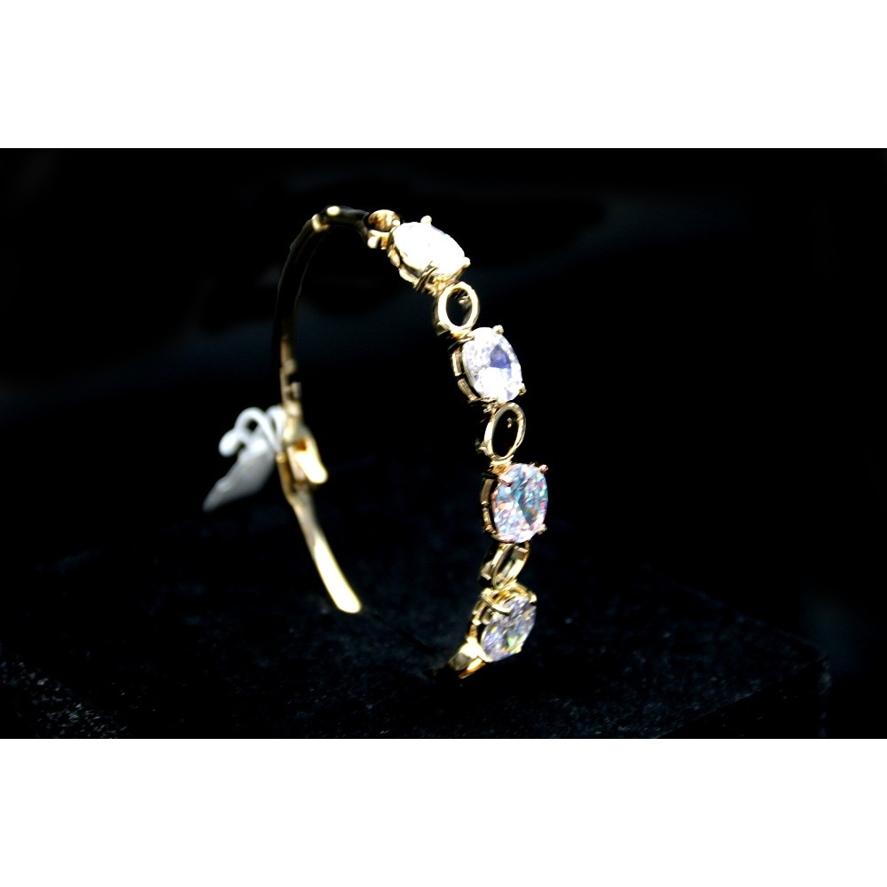 Brazalete incrustado MADALENA SARARA AAA circón, pulsera de gran circón, estilo brillante, para regalo, pulsera de cobre en tono dorado