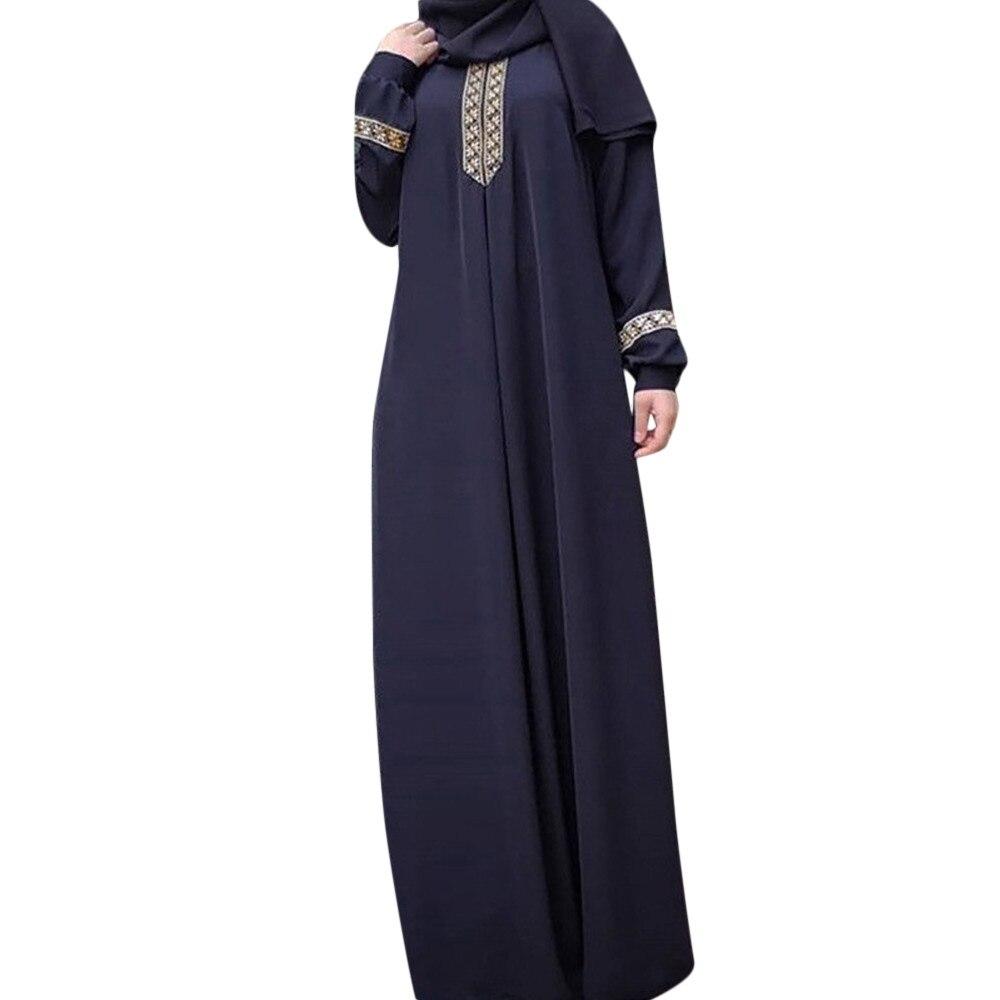 Caliente alta calidad mujeres de talla grande S-5XL de poliéster estampado Abaya Jilbab musulmán Maxi vestido caftán informal vestido largo 2019 nuevas llegadas