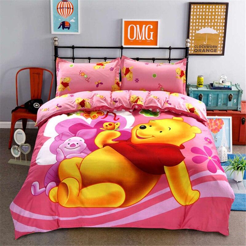 Winnie de Disney de almohada de oso de peluche, juego de edredón de tamaño Queen y doble, juego de fundas de almohada, juego de cama para niñas