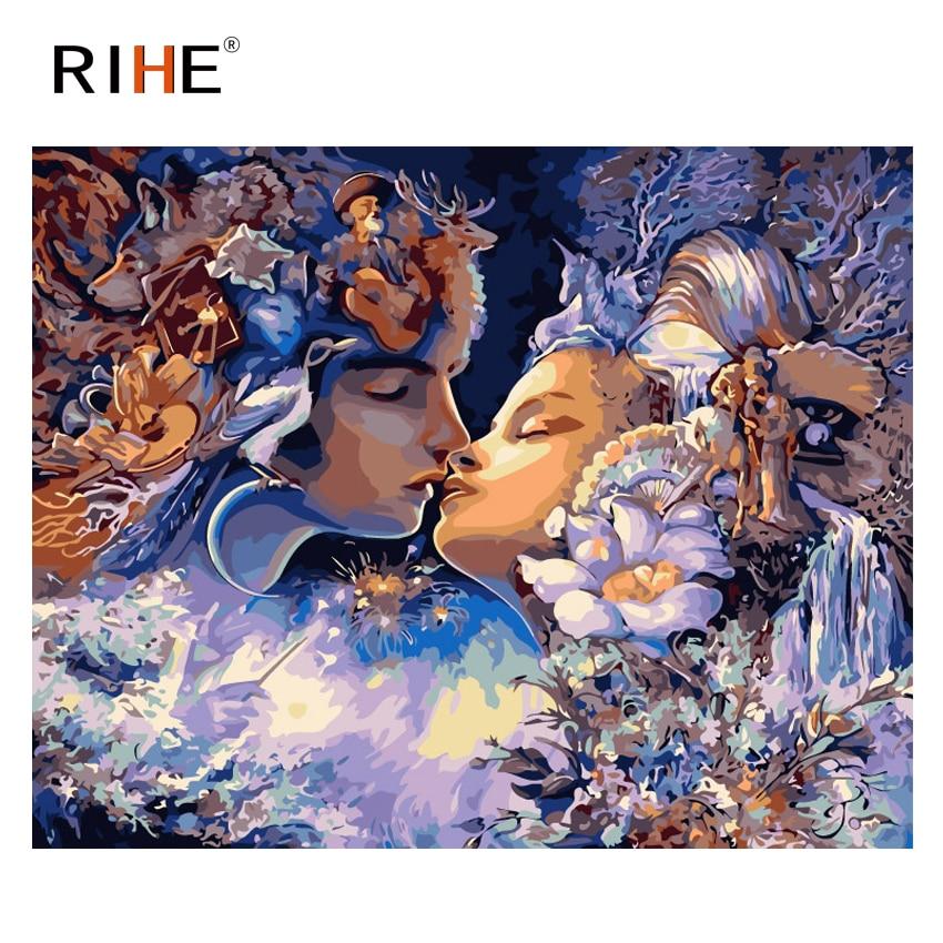 RIHE Tender Kiss pintura al óleo por números amante Cuadros decoración pintura acrílica sobre lienzo para ilustraciones decoración moderna del hogar regalo de arte