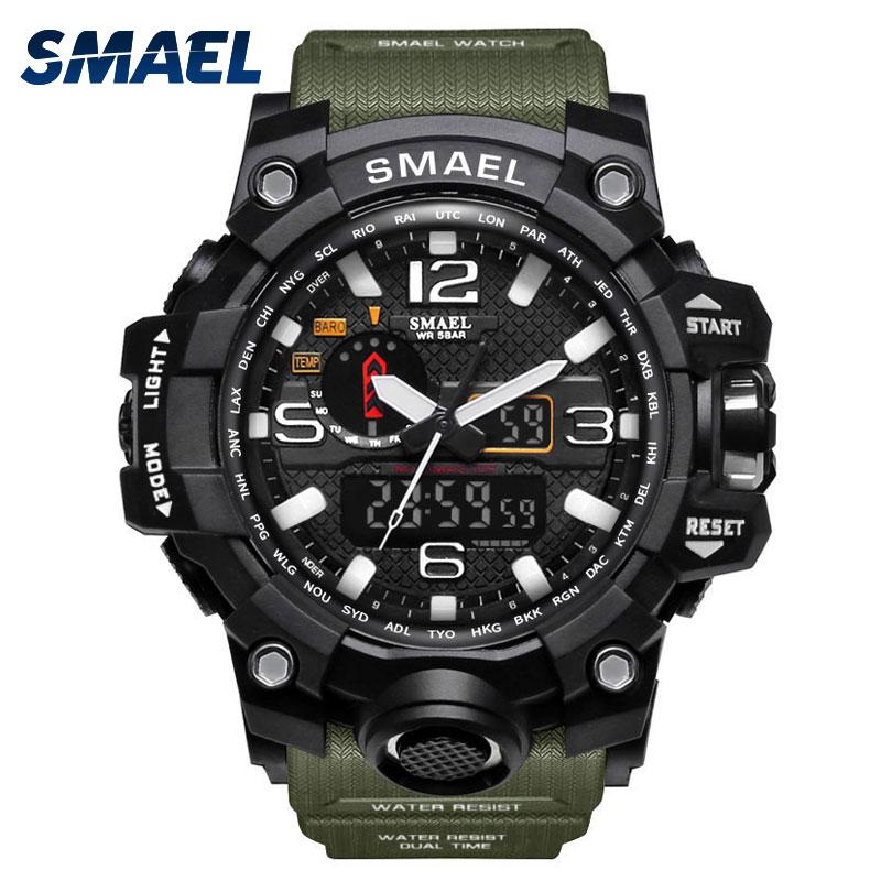 2018 SMAEL Sport Watches for Men Waterproof Digital Watch LED Mens Wristwatch Clock Man 1545 montre homme Big Military Outdoor