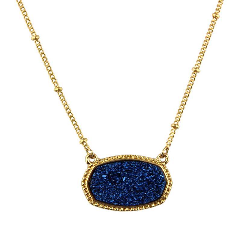 Populaire ovale bleu Druzy collier ras du cou pour les femmes 2020 mode or chaîne bohème Chokers déclaration colliers pendentifs bijoux