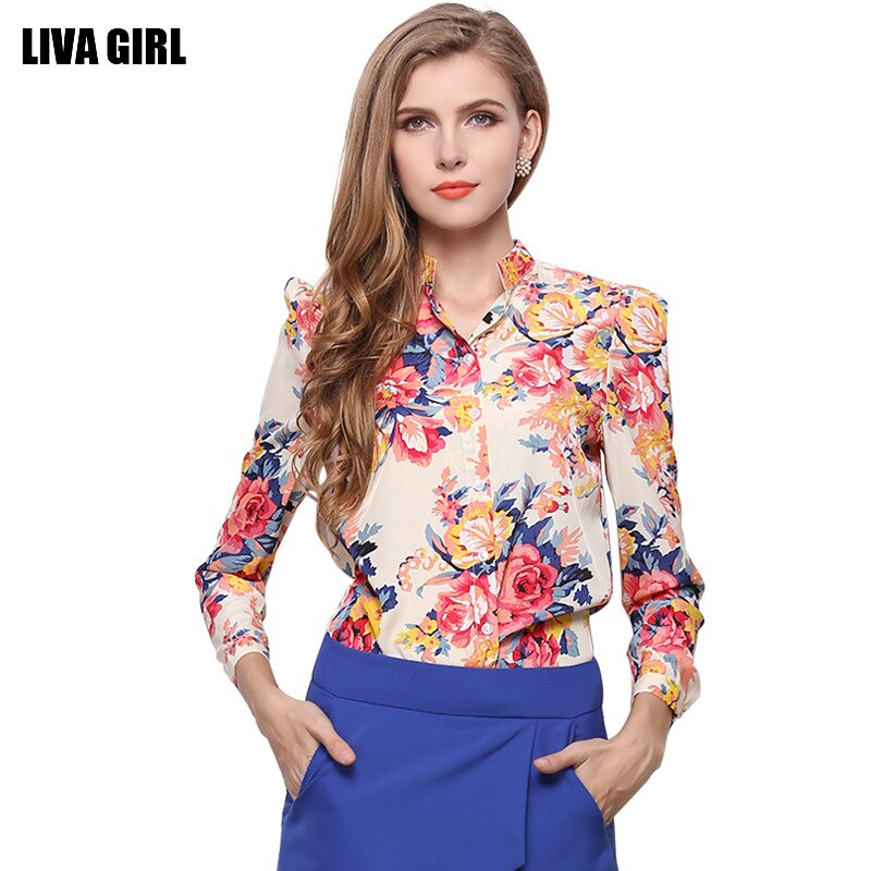 LIVA Women Floral Print Chiffon Blouse Long Sleeve Shirts Fashion Tops Office Lady Blusas Femininas Camisas Mujer