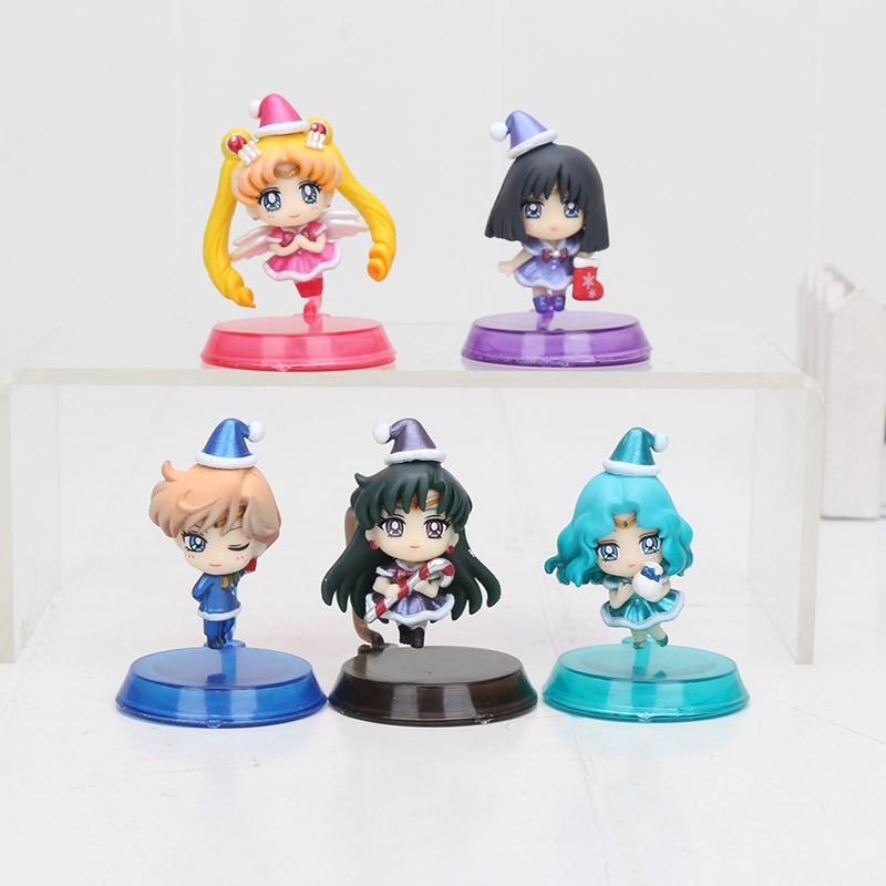 Set de 5 unidades de figuras de Sailor Moon de Pretty Chara, Sailor Moon, modelo en miniatura del reino oscuro del 25 ° aniversario, juguete coleccionable de 5cm