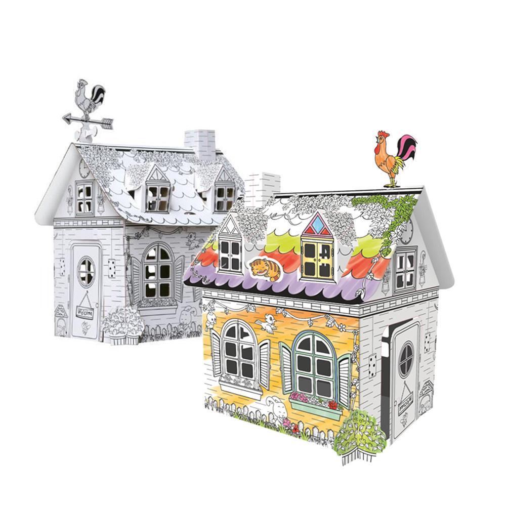 Pintado a mano juguetes educativos para edades tempranas 3D Graffiti Casa de papel Origami juguetes de la infancia jardín Casa colorida juguete regalo de cumpleaños