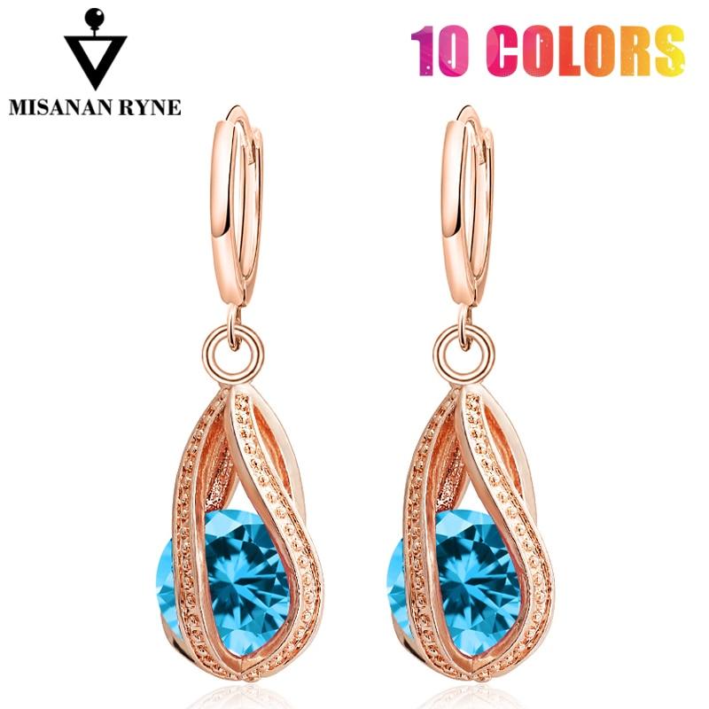 MISANANRYNE хорошая доставка Новая мода для женщин/девушек золотой цвет белый/розовый/фиолетовый/зеленый CZ Висячие серьги ювелирные изделия