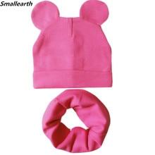Chapeau de bébé avec oreilles mignonnes   Ensemble écharpe, chapeau en coton, pour fille et garçon, casquette avec colliers, bonnet chaud, automne hiver, pour enfants