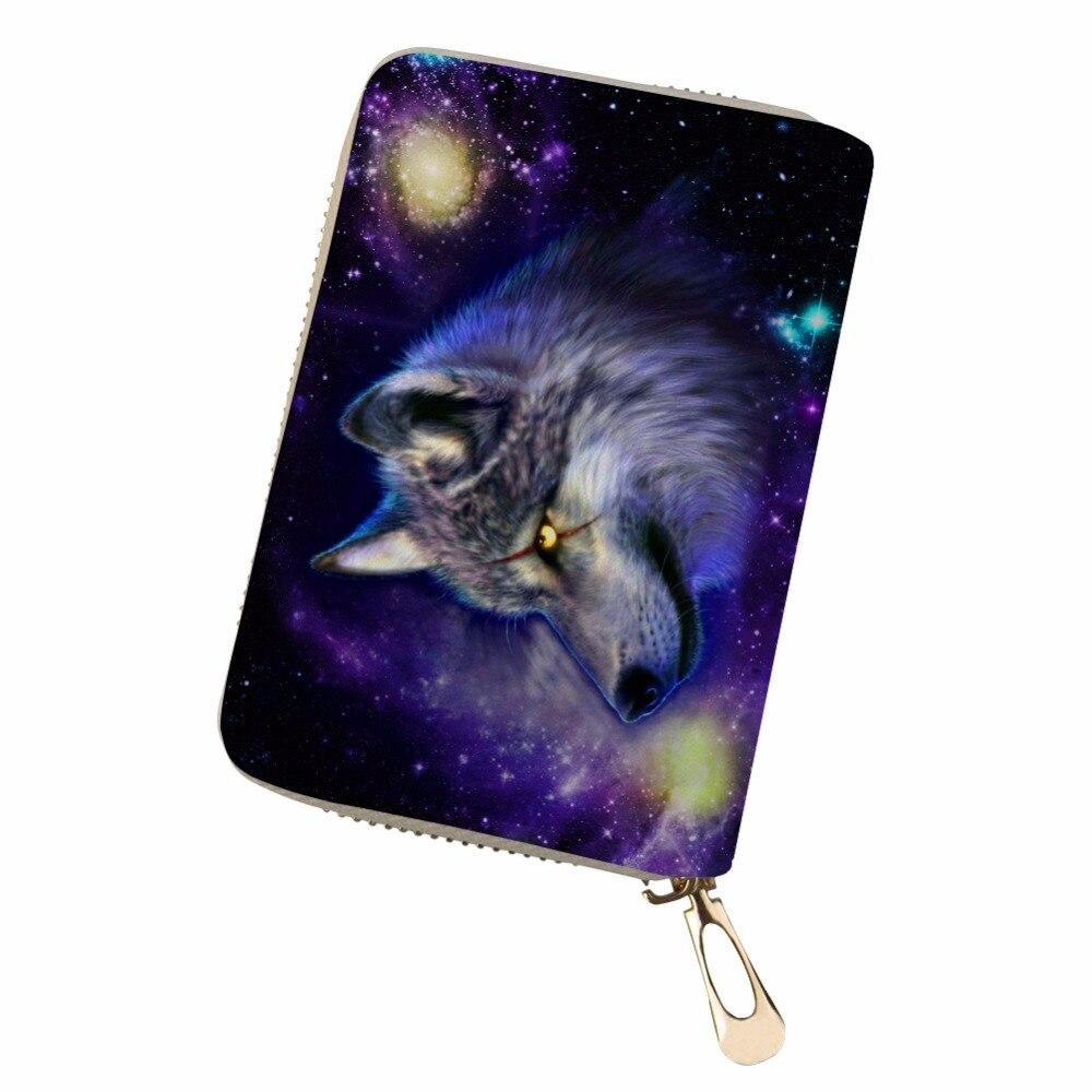 Noisydesigns Unisex personalidad púrpura Lobo estrella color funda de pasaporte y tarjetas titular de la cartera de cuero PU de impresión de tarjeta de cuero