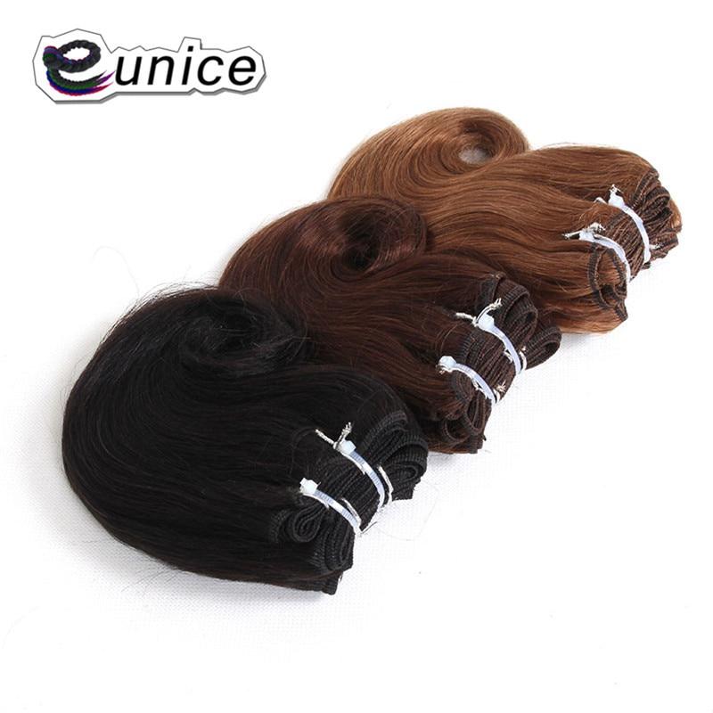 "8 ""zoll Kurzen Körper Welle Eunice Synthetische Haar Weben 4 Bundles/Pack Ombre Weben Haar 100 gram Natürlichen farben Doppel Schuss"