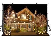 150x210cm Villa Backdrop Brightly Lit Villa Photography Background at Night for Camera Photo Props