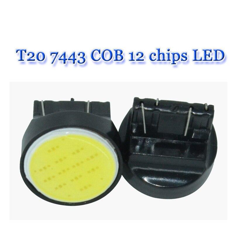 10 pces auto led t20 7443 w21/5 w cob branco w3x16q 12 v carro luz parar freio turno cauda lâmpada de sinal.