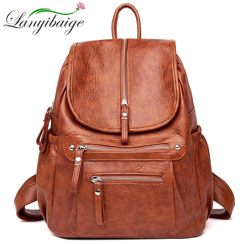 Women High quality leather Backpacks Vintage Female Shoulder Bag Sac a Dos Travel Ladies Bagpack Mochilas School Bags For Girls