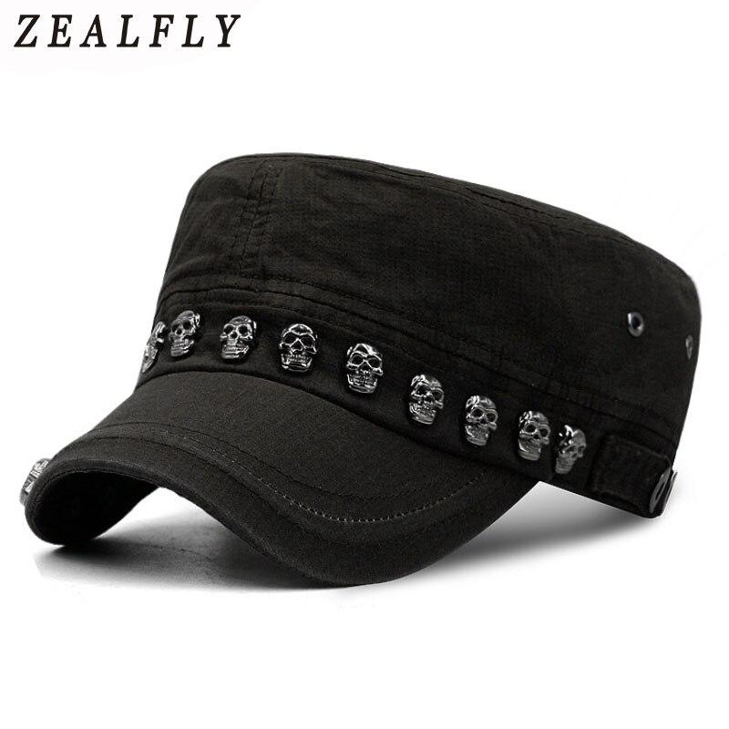 Hip hop crânio chapéus planos punk rebite anel masculino chapéu do exército legal mulher casual boné de beisebol marca cabida chapéus 2017 novo