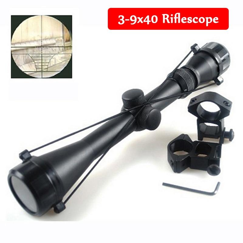 Táctico 3-9x40 rifle de caza militar francotirador Mil Dot pistola de rifle de aire vista táctica con monturas de riel de 11mm/20mm