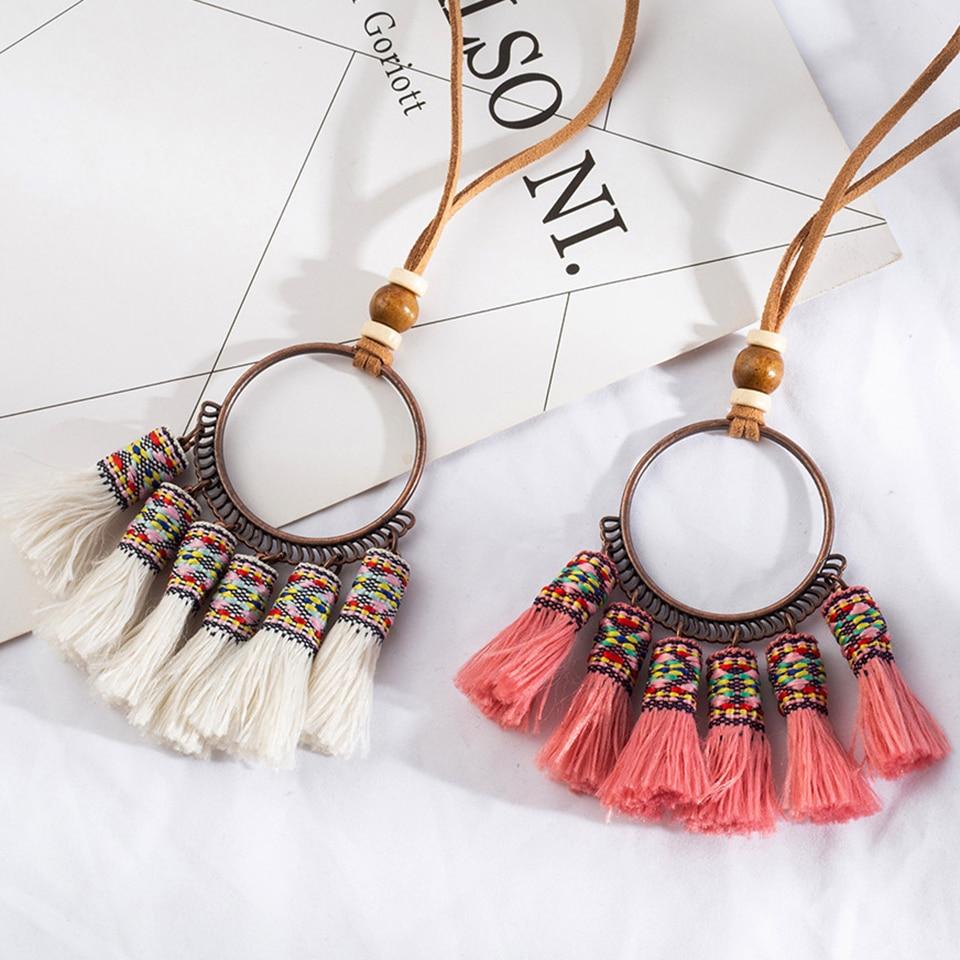 Collar llamativo étnico bohemio largo borla gargantilla con flecos collar Gran círculo redondo colgante collar kolye cuentas de madera regalo