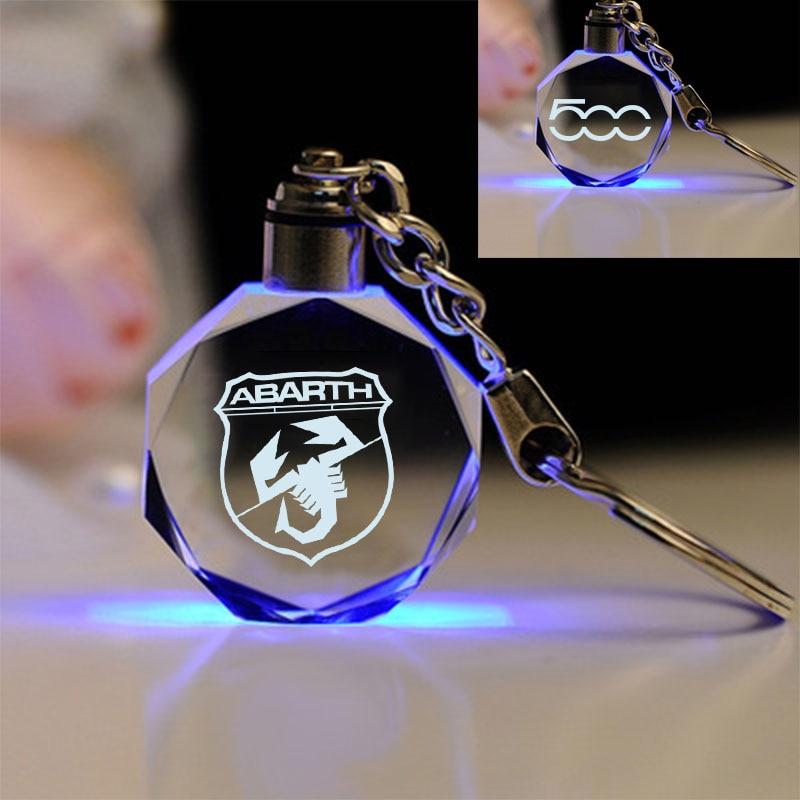 Auto KeyRing For kiA Alfa Romeo Fiat 500 Mitsubishi Logo crystal KeyChain Badge Key Ring Emblem Key Holder Chain