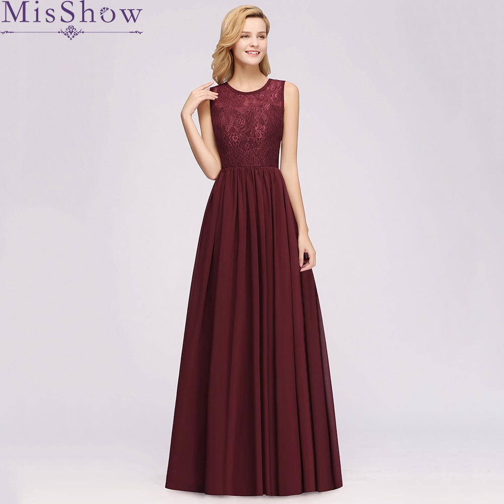[Custom-made] Sexy Bridesmaid Dresses Backless 2019 O-Neck Chiffon Lace Elegant Party Dress Wedding