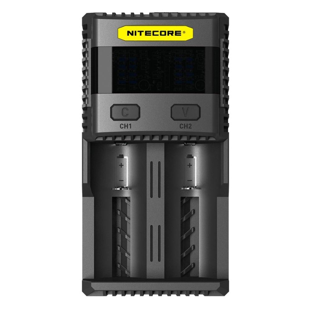 NITECORE SC2 Superb tela LCD carregador de bateria Carregador de 2 Slots carregador Inteligente para Li-ion IMR Bateria LiFePO4 18650 16340 AA