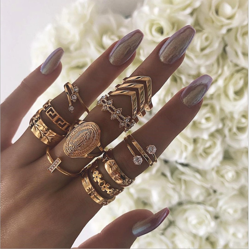 Набор винтажных ювелирных изделий в стиле бохо, набор из кольца в виде золотых цветов в виде листиков и гвоздей в стиле панк, 13 шт./компл.