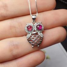 Rojo natural Pyrope gema natural colgante de piedras preciosas COLLAR COLGANTE S925 encantador de plata grace búho chica regalo de joyería fina