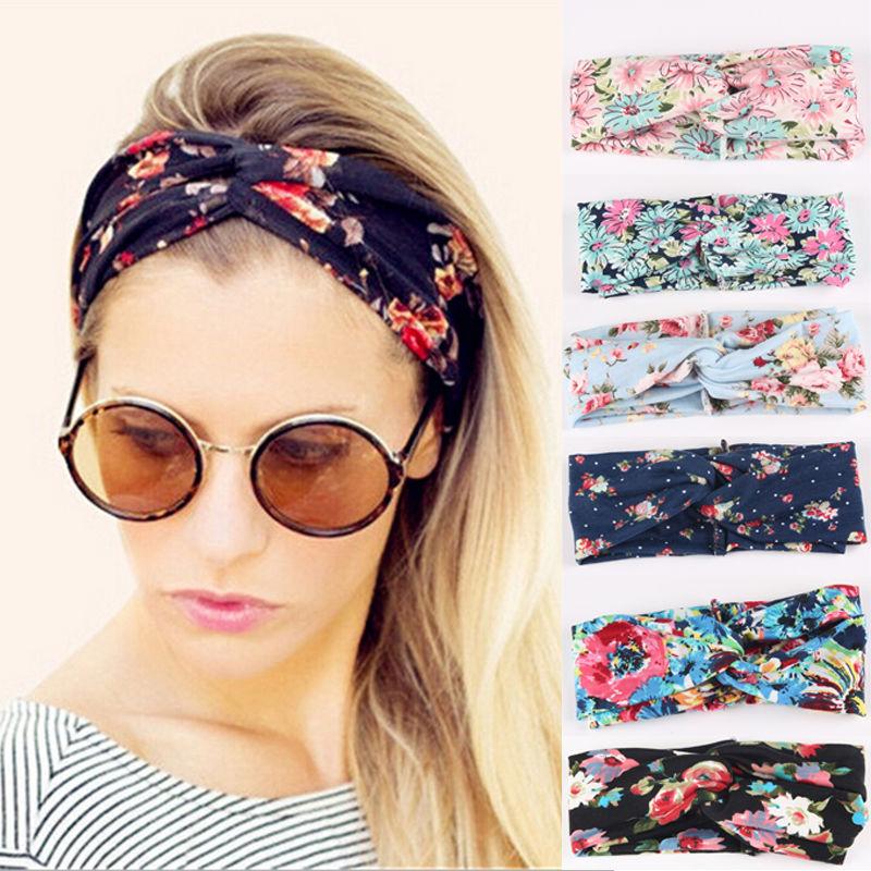 De etnia Floral amplia banda elástica para el pelo mujer Retro elástica turbante trenzado cinta de cabello con nudo chica pelo accesorios