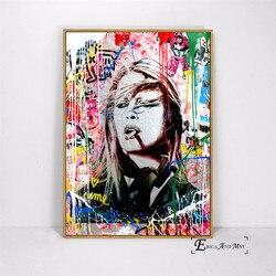 Brigitte bardot pintura de rua pintada, arte pop, posteres e impressões, arte de parede, imagem decorativa, pintura de tela para sala, decoração de casa