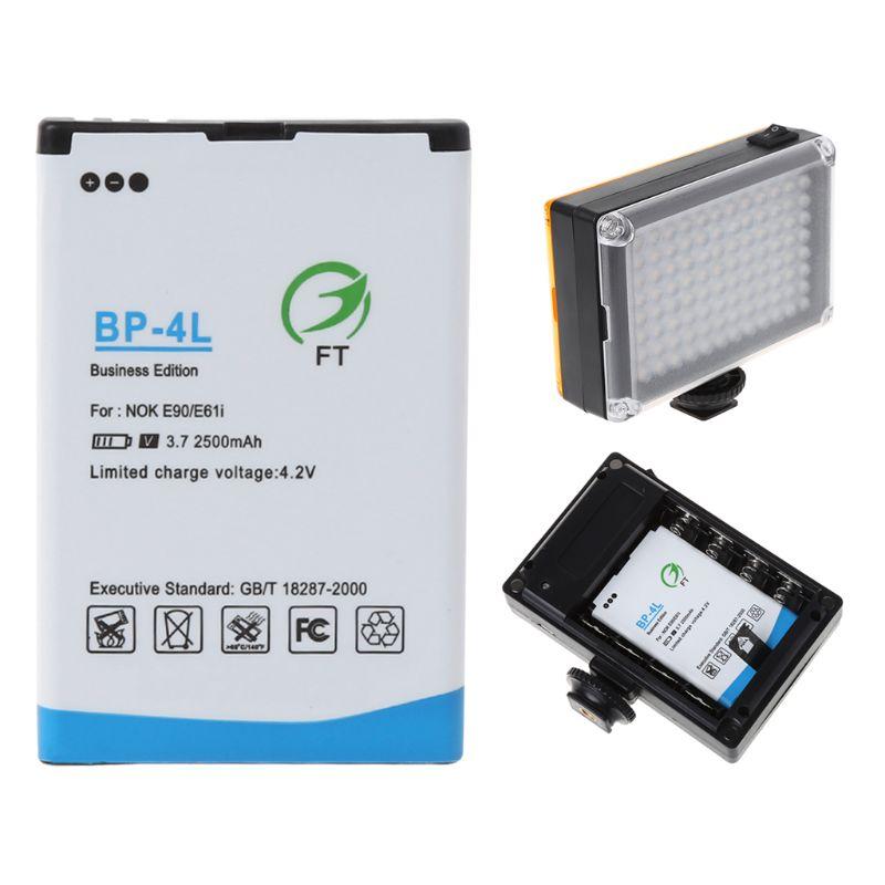 2500mah BP-4L substituição bateria de íon de lítio para luz de vídeo da câmera 96/112 led