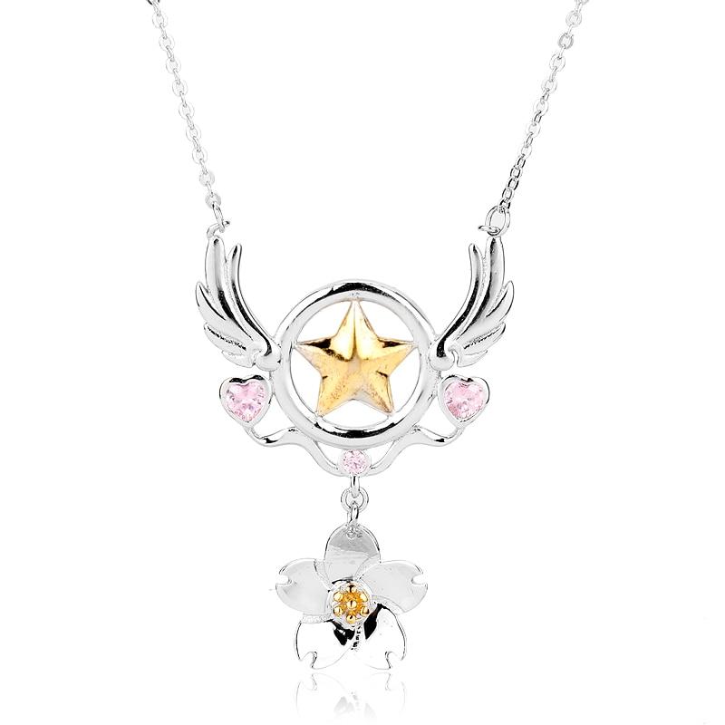 dongsheng Anime Card Captor Sakura Necklace Star Flowers Cardcaptor Sakura Cosplay Pendant Woman Girl Jewelry -30