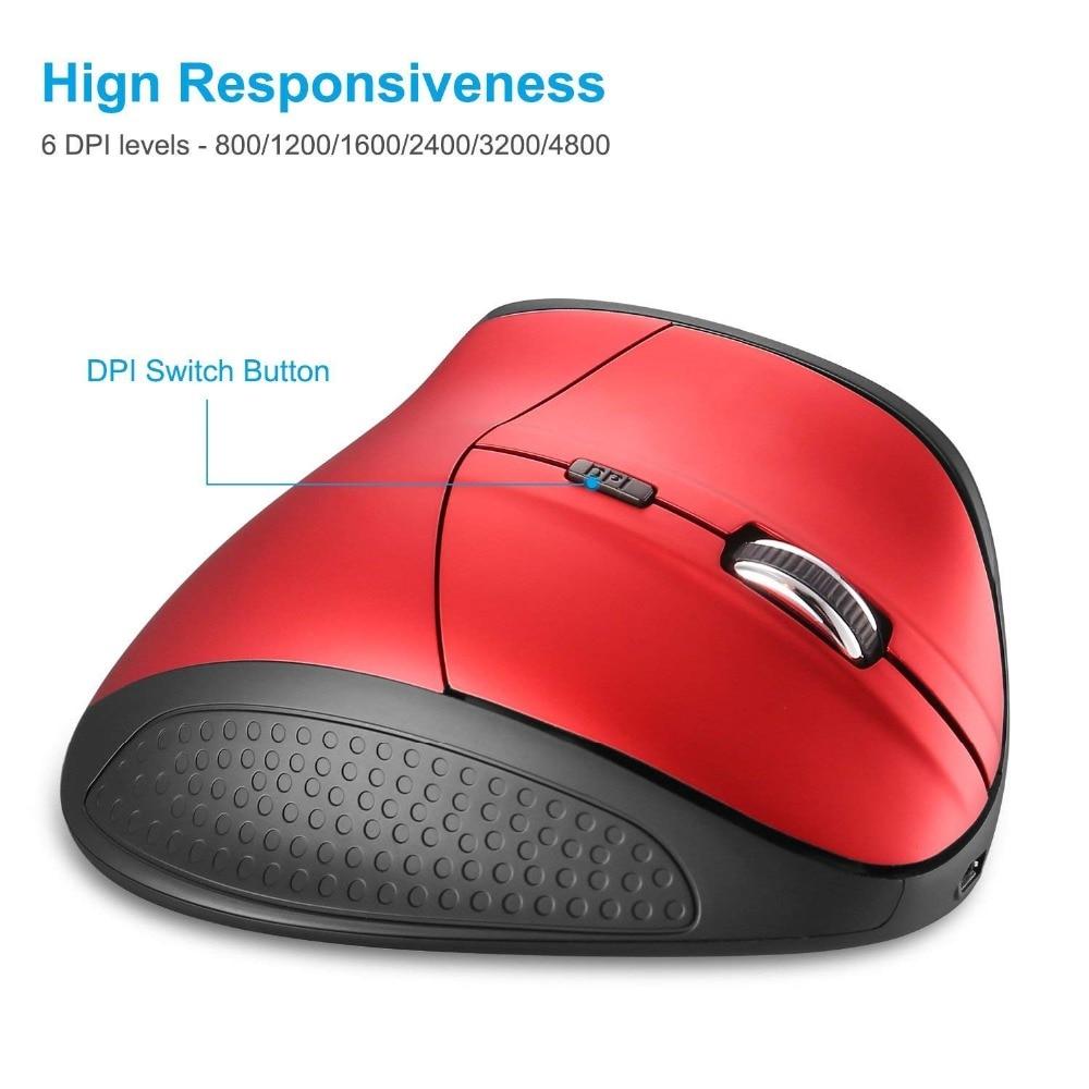 2,4G inalámbrico ratón de la computadora 4800 DPI ergonómico Mause silencioso 6 DPI nivel a 4800 DPI para ordenador portátil MacBook THU