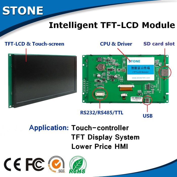 10.1 Inch TFT LCD Monitor Bright Color and High Contrast Display Intelligent Programmable Touch Screen for Industrial Use
