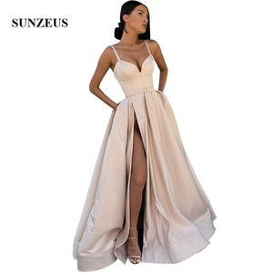 Light Champagne Evening Dresses Spaghetti Straps Sweetheart Long Formal Women Dress High Slit Satin Party Gowns A-line