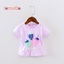 New Sport Baby Girls Boys t-shirt Short Sleeve Strawberry Pattern t-shirts for Girls Cotton Children Clothes Summer
