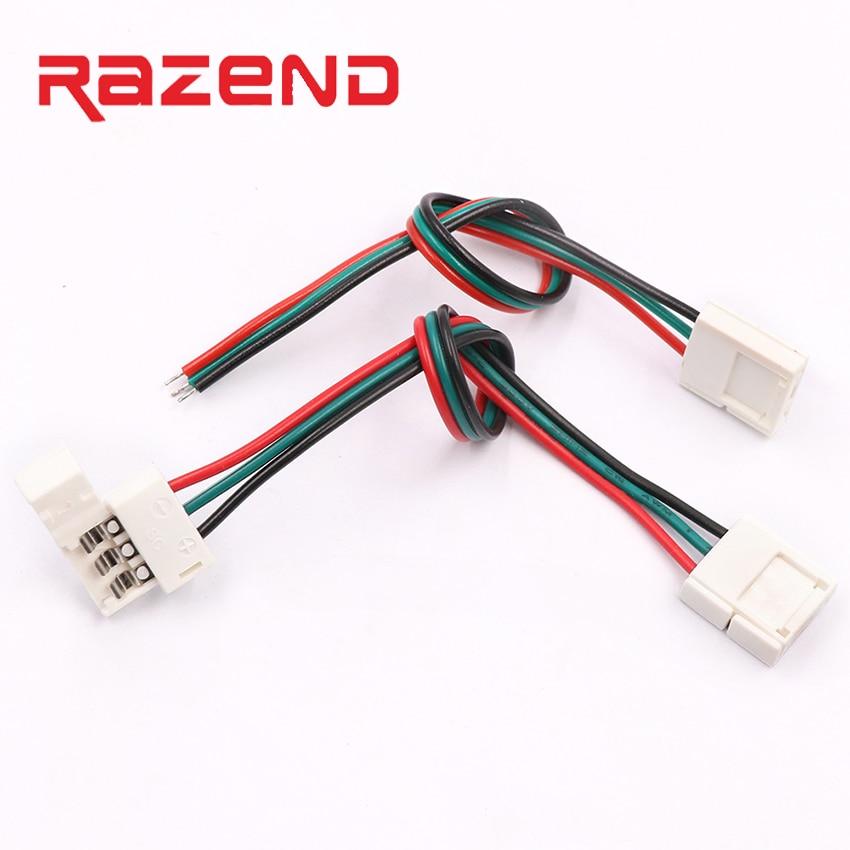 5 pces 3 pinos conector pcb solderless canto conectores 1 2 clipe para 10mm largura pcb led pixel strip