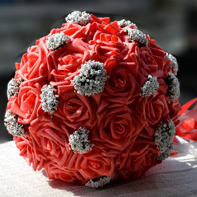2016 Bridal Bridesmaid Wedding Bouquet Cheap New Arrival White&Purple Handmade Artificial Flowers Bouquets D82