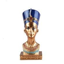 ElimElim Клеопатра голова портрет фигурка смолы искусство ремесла Египет домашний декор миниатюрные украшения